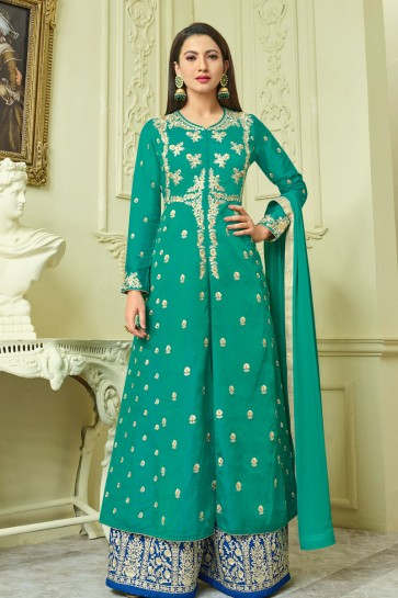 Gauhar Khan Lovely Green Long Length Embroidered Work Anarkali Salwars Kameez