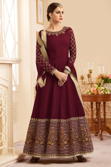 Pretty Purple Long Length Embroidered Work Salwars Suit