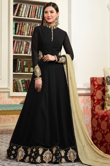 Gauhar Khan Gorgeous Black Casual Georgette Anarkali Salwar Suit With Net and Nazmin Dupatta