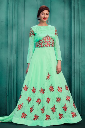 Saumya Tandon Desirable Green Long Length Party Wear Anarkali Salwars Suit