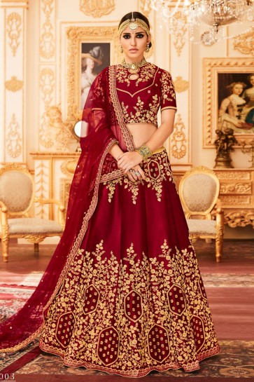 Graceful Maroon Embroidered Work Lehenga Choli with Net Dupatta