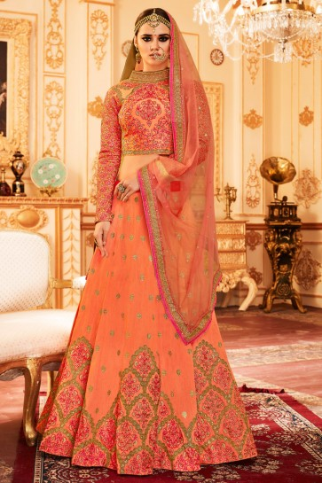 Charming Orange Silk Embroirdered Work Lehenga Choli