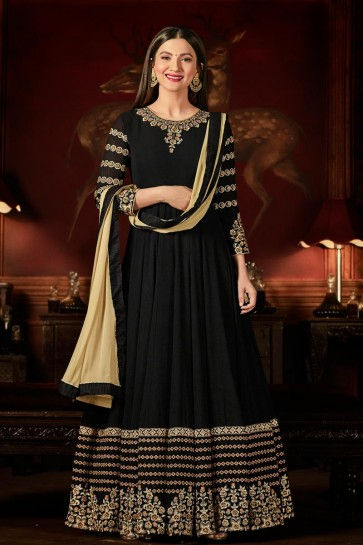 Gauhar Khan Classic Black Georgette Anarkali Salwar Suit with Embriodery Worked