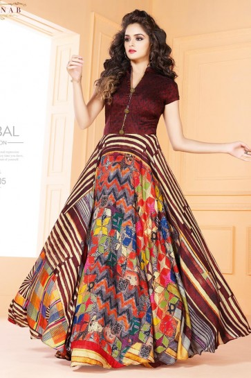 Beuatiful Multi color Long Length Party Wear Salwars Suit