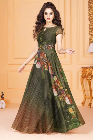 Lovely Green Long Length Party Wear Salwars Suit