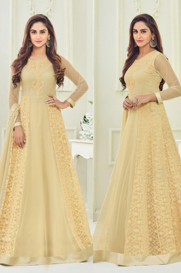 Pretty Cream Party Wear Net Fabric Salwar Kameez