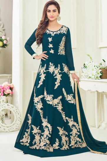 Beuatiful Turquoise Patch Worked Georgette Designer Salwar Suit