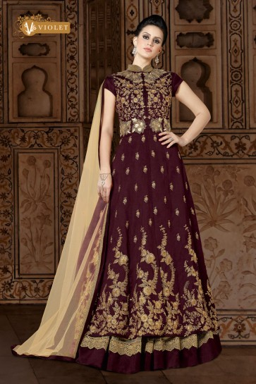Graceful Maroon Embroidery Worked Salwars Suit
