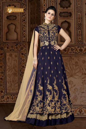 Beautiful Navy Blue Casual Salwar Suit With Net Dupatta