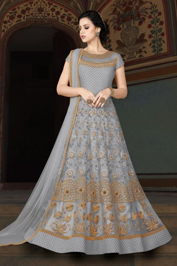 Stylish Grey Embroidery Worked Salwar Suit With Net Dupatta