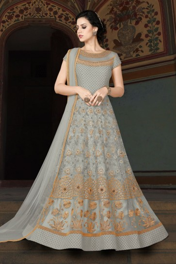Graceful Grey Net Party Wear Salwar Suit With Net Dupatta