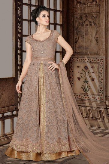 Stylish Chikoo Casual Salwar Suit With Net Dupatta