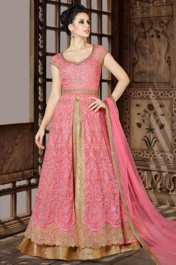 Beautiful Pink Embroidery Worked Salwars Suit with Net Dupatta