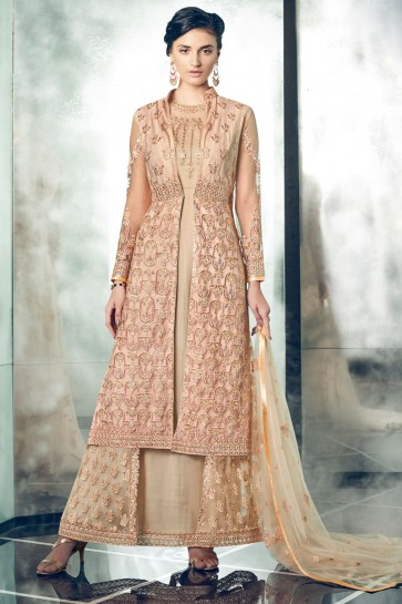 Gorgeous Cream Santoon Anarkali Salwar Kameez