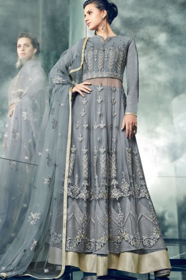 Graceful Grey Function Wear Embroidery Worked Anarkali Salwars Suit
