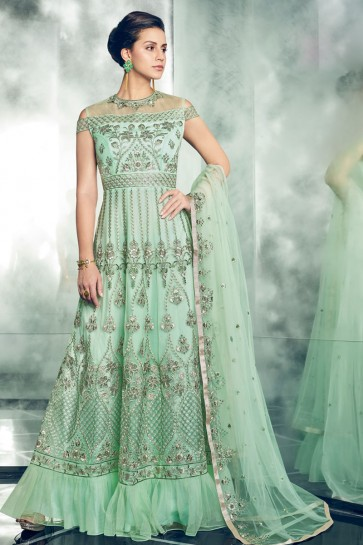 Excellent Sea Green Casual Wear Salwar Suit With ButterFly Net Dupatta