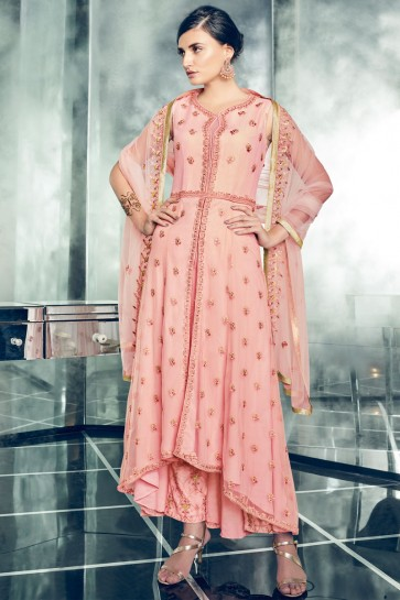 Classic Pink Party Wear Embroidery Worked Salwar Suit