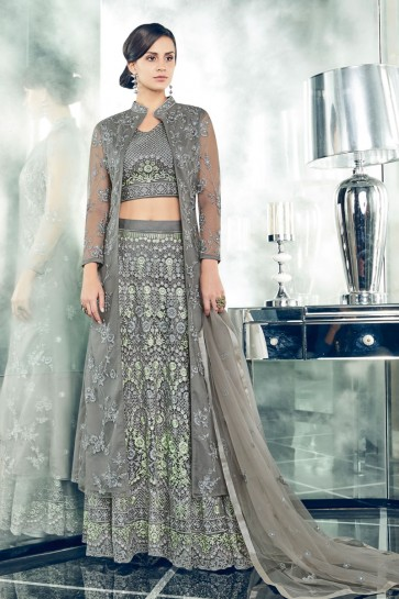 Admirable Grey Long Length Party Wear Salwars Suit