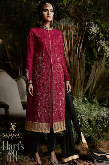 Lovely Maroon Georgette and Santoon Salwar Kameez
