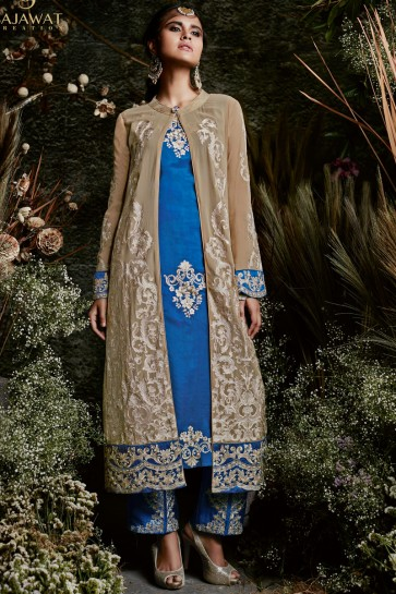 Gorgeous Beige and Blue Function Wear Embroidery Worked Salwars Suit