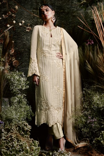 Excellent Beige Casual Wear Embroidery Worked Salwar Suit