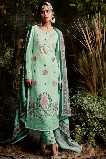 Ultimate Sea Green Party Wear Salwar Suit with Lace Worked Dupatta