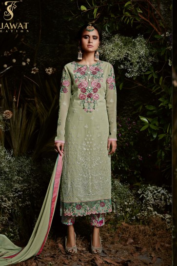 Admirable Green Long Length Party Wear Salwars Suit with Embroidery Worked