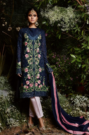 Stylish Blue Party Wear Embroidery Worked Salwars Suit