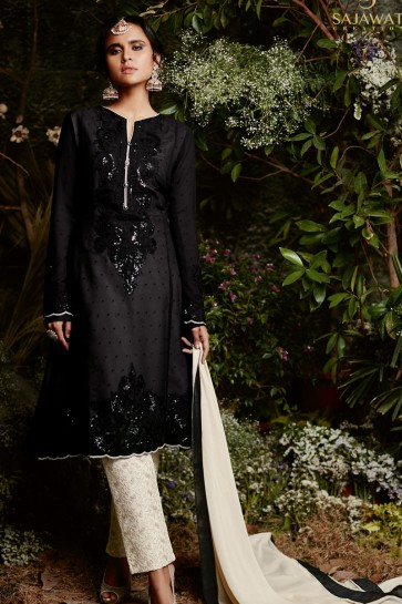 Pretty Black Casual Wear Salwars Suit with Lace Worked Dupatta