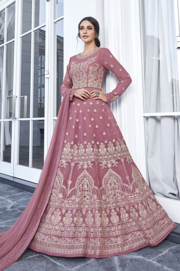 Rust Georgette Embroidered Abaya Style Anarkali Suit With Nazmin Dupatta