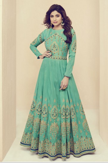 Shamita Shetty Graceful Turquoise Silk Embroidered Work Designer Anarkali Salwar Kameez