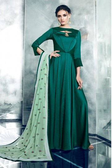Graceful Green Silk Designer Anarkali Salwars