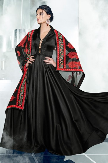 Stylish Black Silk Designer Anarkali Salwars