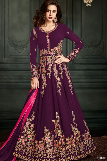 Graceful Purple Georgette Embroidered Work Salwars Suit with Nazmin Dupatta