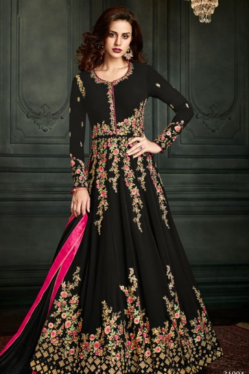 Pretty Black Party Wear Embroidered Work Salwar Suit