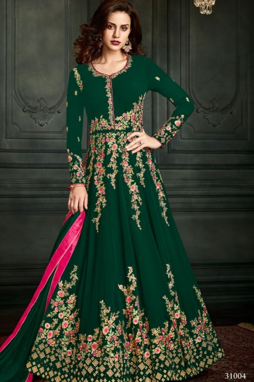 Classic Green Georgette Embroidered Work Designer Salwar Suit