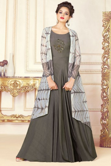 Gorgeous Grey Silk Embroidered Work Salwars Suit