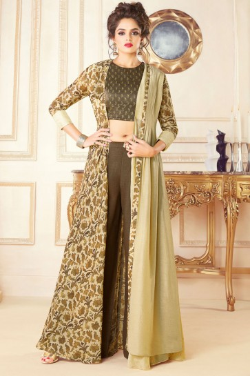 Beautiful Beige Party Wear Embroidered Work Printed Salwar Suit