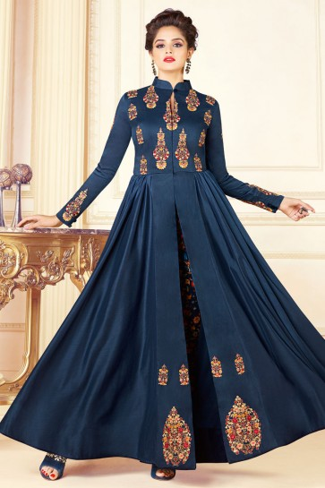 Admirable Blue Embroidered Work Designer Salwar Suit