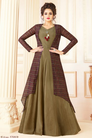 Desirable Mehendi Green Embroidered Work Printed Salwar Suit
