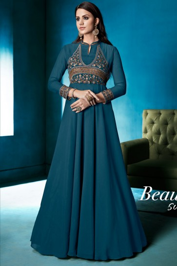 Stylish Turquoise Gerogette Party Wear Gown