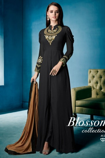 Excellent Black Embroidered Work Long Length Gown