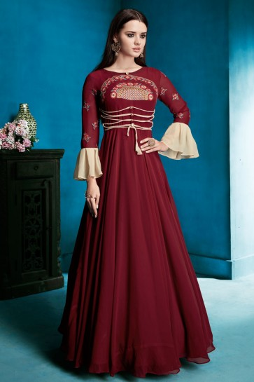 Desirable Maroon Georgette Long Length Designer Gown