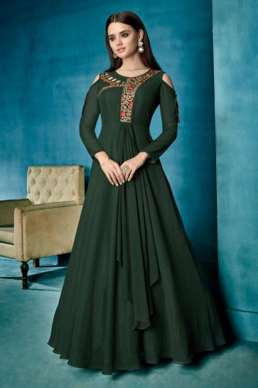 Beautiful Green Embroidered Work Gown