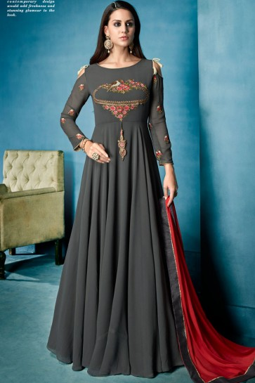 Admirable Grey Embroidered Work Long length Gown