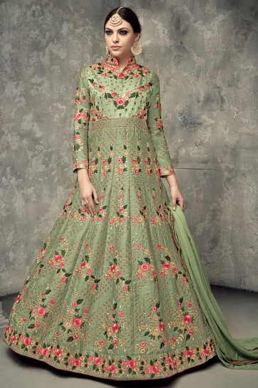 Desirable Green Georgette Long Length Designer Salwar Kameez