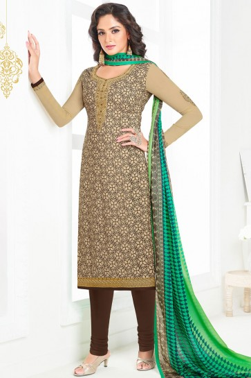 Gorgeous Cream Crepe Long Length Designer Salwar Kameez