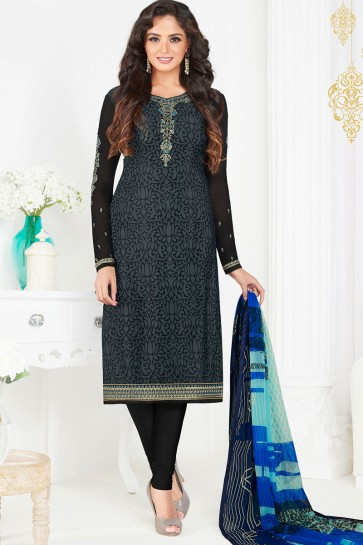 Lovely Black Crepe Designer Party Wear Salwar Kameez