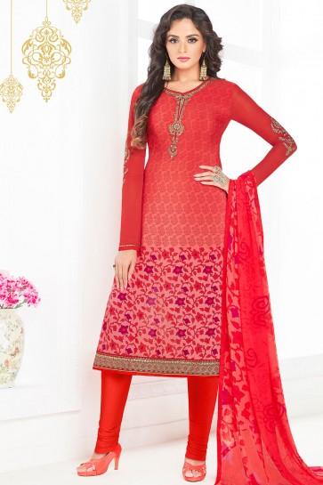 Pretty Red Crepe Embroidered Work Salwar Kameez