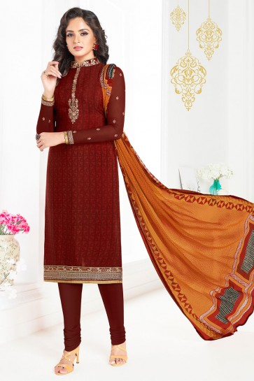 Charming Brown Embroidered Work Designer Salwars Suit
